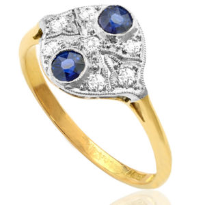 Deco Delight... Original Art Deco Sapphire and Diamond ring -0
