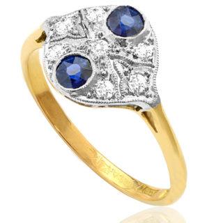 Deco Delight... Original Art Deco Sapphire and Diamond ring -0