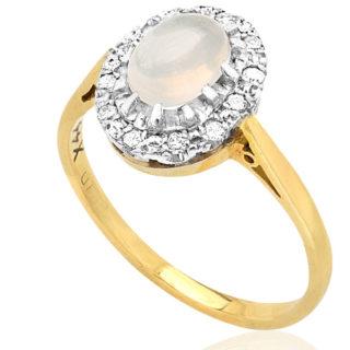 ***SOLD*** Blue Moon... Original Art Deco Moonstone and Diamond ring -0