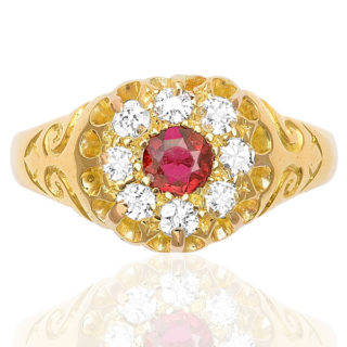 ***SOLD*** Antique Ruby and Diamond Cluster ring -3190