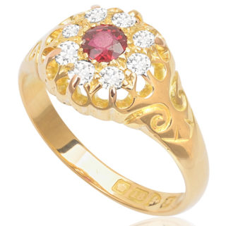 ***SOLD*** Antique Ruby and Diamond Cluster ring -0