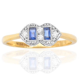 Sapphire Twins... Original Art Deco Sapphire and Diamond ring -0