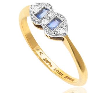 Sapphire Twins... Original Art Deco Sapphire and Diamond ring -3177
