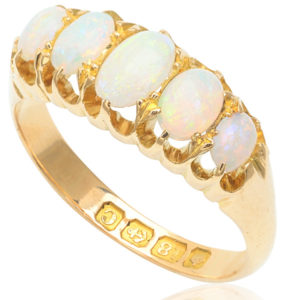 Antique 5 stone Opal ring -3172