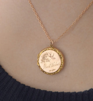 Best Wishes... Antique Rose Gold Locket and Chain-3202