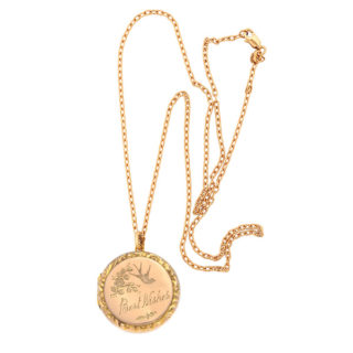 Best Wishes... Antique Rose Gold Locket and Chain-0