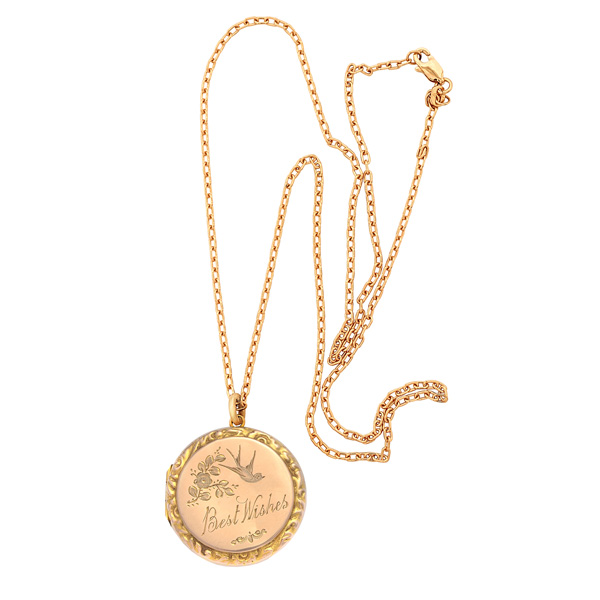Antique Rose Gold Locket And Chain 0