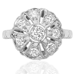 Sensational... Original Art Deco Diamond Daisy ring -0