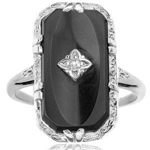 Deco Drama... Original 1920s Onyx and Diamond ring -0