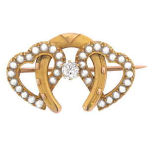 Love and Luck... Antique Diamond and Pearl brooch -3218