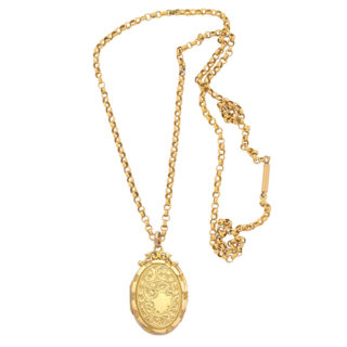 ***SOLD*** Superb... Antique 15 carat Locket and Chain -0