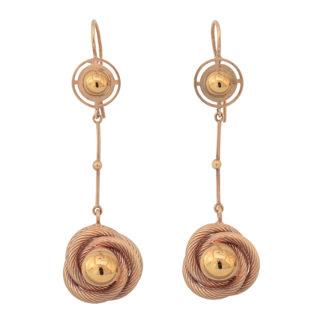 Art Deco Rose Gold Drop Earrings -0