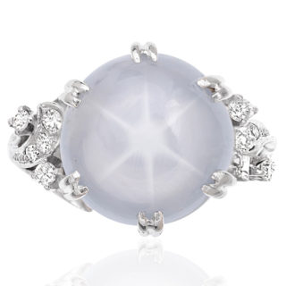 ***SOLD*** Magnificent... 1940s Star Sapphire and Diamond ring -0