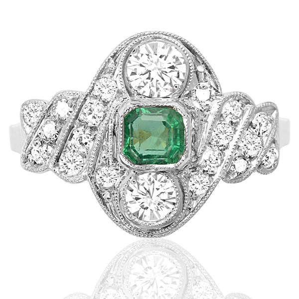 ***SOLD*** Green with Envy... Original Art Deco Emerald and Diamond ring -0