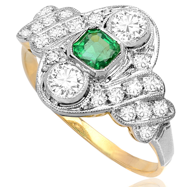 ***SOLD*** Green with Envy... Original Art Deco Emerald and Diamond ring -3279