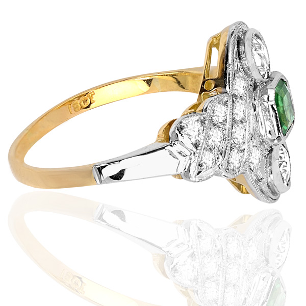 ***SOLD*** Green with Envy... Original Art Deco Emerald and Diamond ring -3280