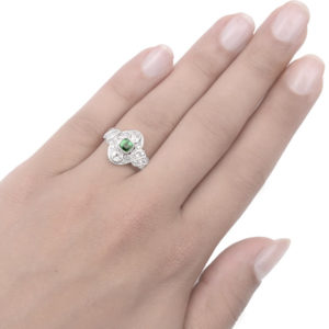 ***SOLD*** Green with Envy... Original Art Deco Emerald and Diamond ring -3281