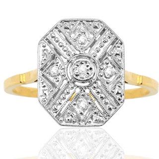 Fabulous France... Original Art Deco Diamond Plaque ring -0