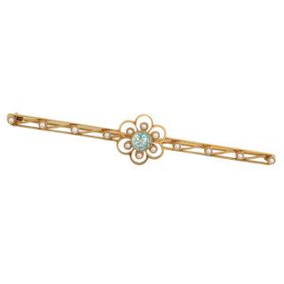 Art Nouveau Aquamarine and Pearl Brooch -0