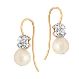 ***SOLD*** Vintage Pearl and Diamond earrings -0