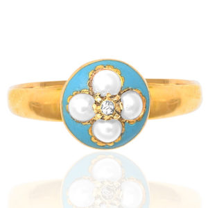 Antique Turquoise Enamel, Pearl and Diamond ring -0