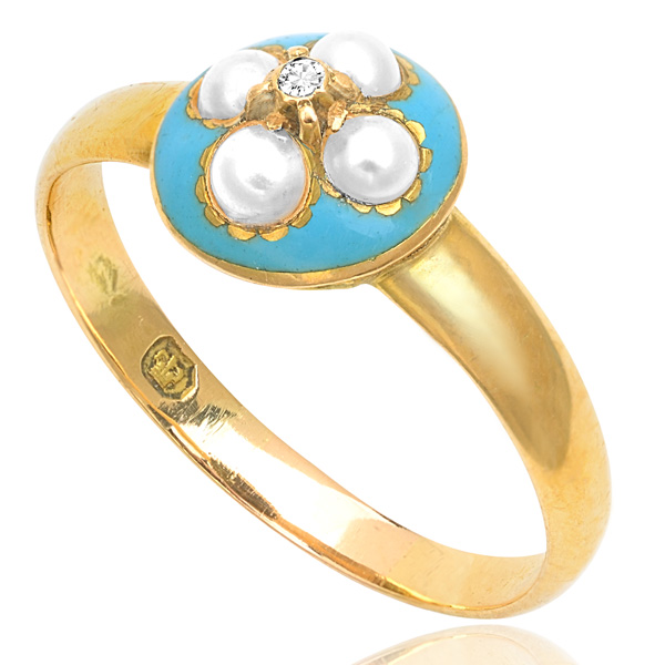 Antique Turquoise Enamel, Pearl and Diamond ring -3194