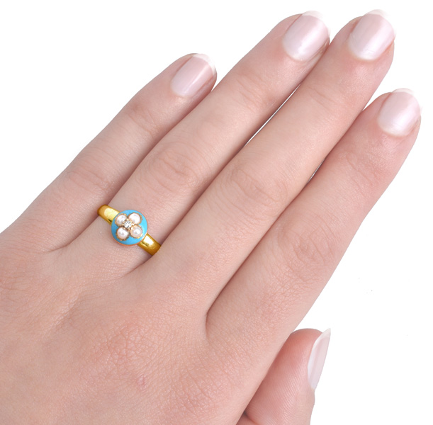 Antique Turquoise Enamel, Pearl and Diamond ring -3195