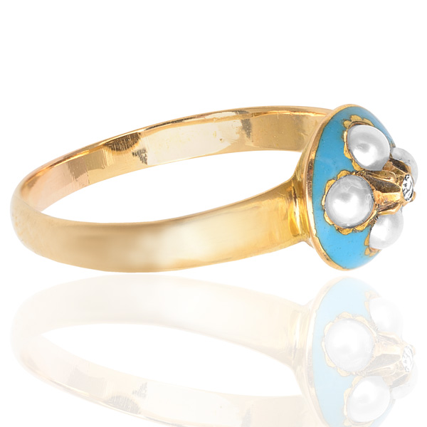 Antique Turquoise Enamel, Pearl and Diamond ring -3196