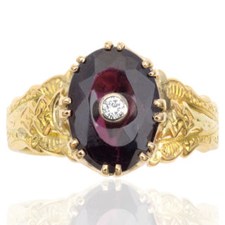 Victorian Garnet and Diamond ring -3369