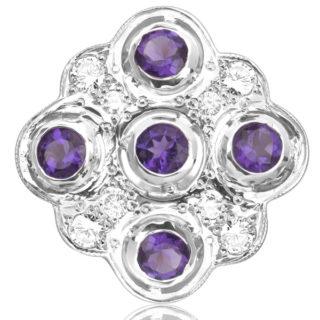 Statement... Vintage Handmade Amethyst and Diamond ring -0