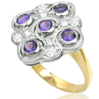 Statement... Vintage Handmade Amethyst and Diamond ring -3401