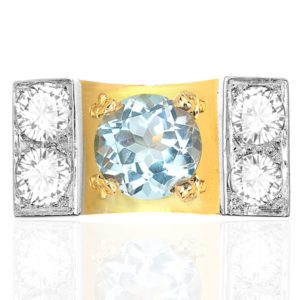What a Statement... 1940s Aquamarine and Diamond ring -3349