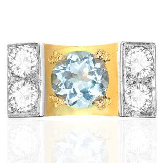 What a Statement... 1940s Aquamarine and Diamond ring -3349