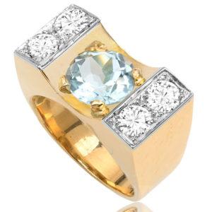 What a Statement... 1940s Aquamarine and Diamond ring -0