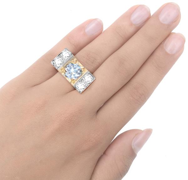 What a Statement... 1940s Aquamarine and Diamond ring -3351