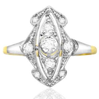***SOLD*** Deco Delight... Original 1920s Diamond Plaque ring -0