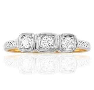 Forever More... Original Art Deco Diamond 'Trilogy' ring -0