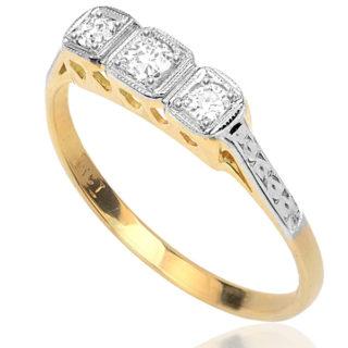 Forever More... Original Art Deco Diamond 'Trilogy' ring -3327
