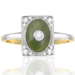 ***SOLD*** Exquisite... Art Nouveau Jade and Diamond ring -0