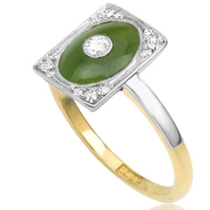 ***SOLD*** Exquisite... Art Nouveau Jade and Diamond ring -3381
