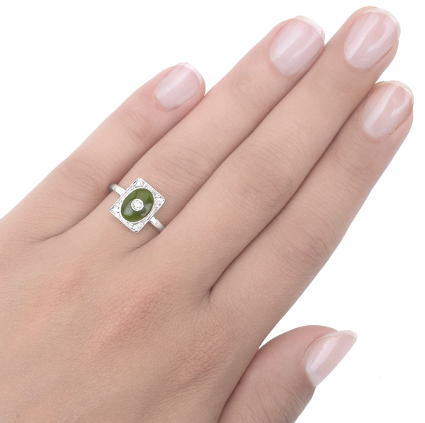 ***SOLD*** Exquisite... Art Nouveau Jade and Diamond ring -3382