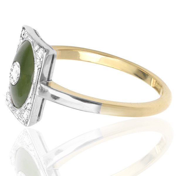 ***SOLD*** Exquisite... Art Nouveau Jade and Diamond ring -3383