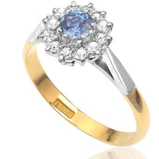 ***SOLD*** Sky Blue... Original Art Deco Sapphire and Diamond Daisy ring -0