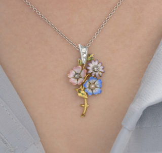 So Pretty... Enamel and Diamond Flower Pendant and Chain -3361