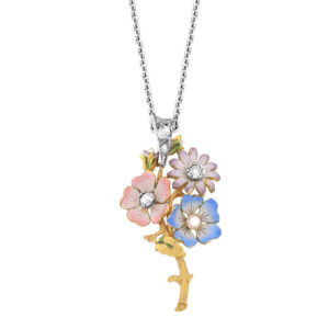 So Pretty... Enamel and Diamond Flower Pendant and Chain -0
