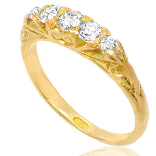 Antique 5 stone Diamond ring -0