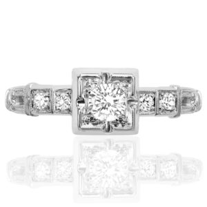 The One... Original Art Deco Platinum Diamond ring -0