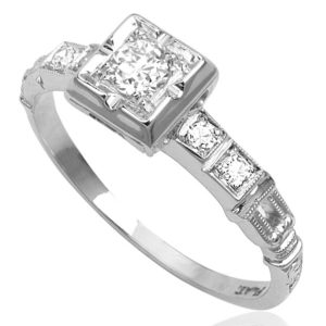 The One... Original Art Deco Platinum Diamond ring -3417