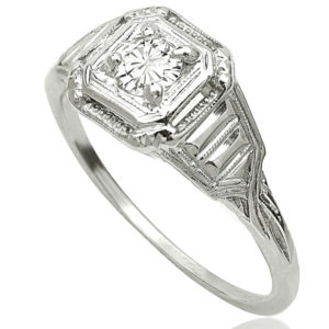Darling... Original Art Deco Solitaire Diamond ring -0