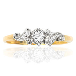 Floral... Original Art Deco Diamond Engagement ring -0